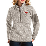Antigua Women's Texas Longhorns Grey Fortune Pullover Jacket