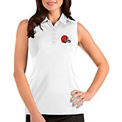 Antigua Women's Cleveland Browns Tribute Sleeveless White Performance Polo