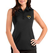 Antigua Women's Jacksonville Jaguars Tribute Sleeveless Black Performance Polo