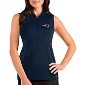 Antigua Women's New England Patriots Tribute Sleeveless Navy Performance Polo