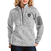 Antigua Women's Las Vegas Raiders Fortune Grey Quarter-Zip Pullover