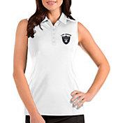 Antigua Women's Las Vegas Raiders Sleeveless White Performance Polo