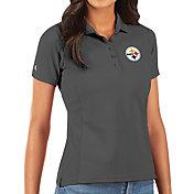 Antigua Women's Pittsburgh Steelers Grey Legacy Pique Polo
