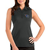 Antigua Women's Tennessee Titans Tribute Sleeveless Grey Performance Polo