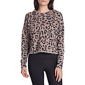 Betsey Johnson Women's Cheetah Print Cropped Hoodie