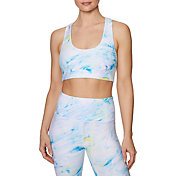 Betsey Johnson Women's Liquid Swirl Medium Impact Racerback Sports Bra