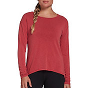 CALIA by Carrie Underwood Women's Drape Back Long Sleeve Shirt (Regular and Plus)