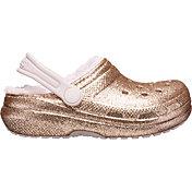 Crocs Kids' Classic Glitter Lined Clogs