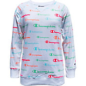 Champion Girls' Allover Print French Terry Crew Sweatshirt