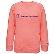 Champion Girls' Tie-Dye Script Crew Sweatshirt