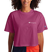 Champion Women's Cropped Left Chest Script Short Sleeve T-Shirt