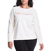Champion Women's Plus Size Powerblend Boyfriend Logo Crew Sweatshirt