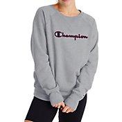 Champion Women's Powerblend Boyfriend Satin Applique Crew Sweatshirt