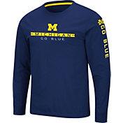 Colosseum Men's Michigan Wolverines Blue Blitzgiving Long Sleeve T-Shirt