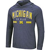 Colosseum Men's Michigan Wolverines Blue Jenkins Hooded Long Sleeve T-Shirt