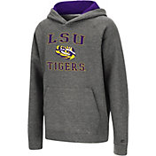 Colosseum Youth LSU Tigers Heather Grey Pullover Hoodie