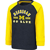 Colosseum Toddler Michigan Wolverines Blue Squidward Long Sleeve T-Shirt