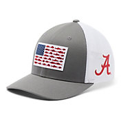 Columbia Men's Alabama Crimson Tide Grey PFG Fish Flag Mesh Fitted Hat