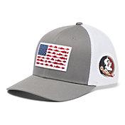 Columbia Men's Florida State Seminoles Grey PFG Fish Flag Mesh Fitted Hat