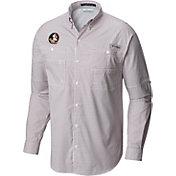 Columbia Men's Florida State Seminoles Garnet Gingham Tamiami Long Sleeve Shirt