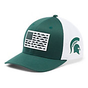 Columbia Men's Michigan State Spartans Green PFG Fish Flag Mesh Fitted Hat