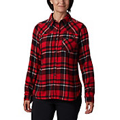 Columbia Women's Georgia Bulldogs Red Plaid Flare Gun Flannel Long Sleeve Shirt