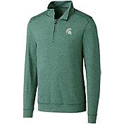 Cutter & Buck Men's Michigan State Spartans Green Shoreline Half-Zip Shirt