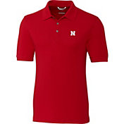 Cutter & Buck Men's Nebraska Cornhuskers Scarlet Advantage Long Sleeve Polo