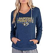 Concepts Sport Women's Nashville Predators Terry Navy Heathered Long Sleeve Hooded Shirt