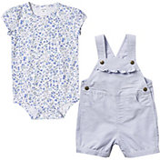 Carhartt Infant Girls' Printed Chambrey Onesie and Shortall Set