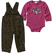 Carhartt Infant Girls' Long Sleeve Bodyshirt & Camo Overalls Set