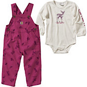 Carhartt Infant Girls' Bodyshirt and Printed Canvas Overalls Set