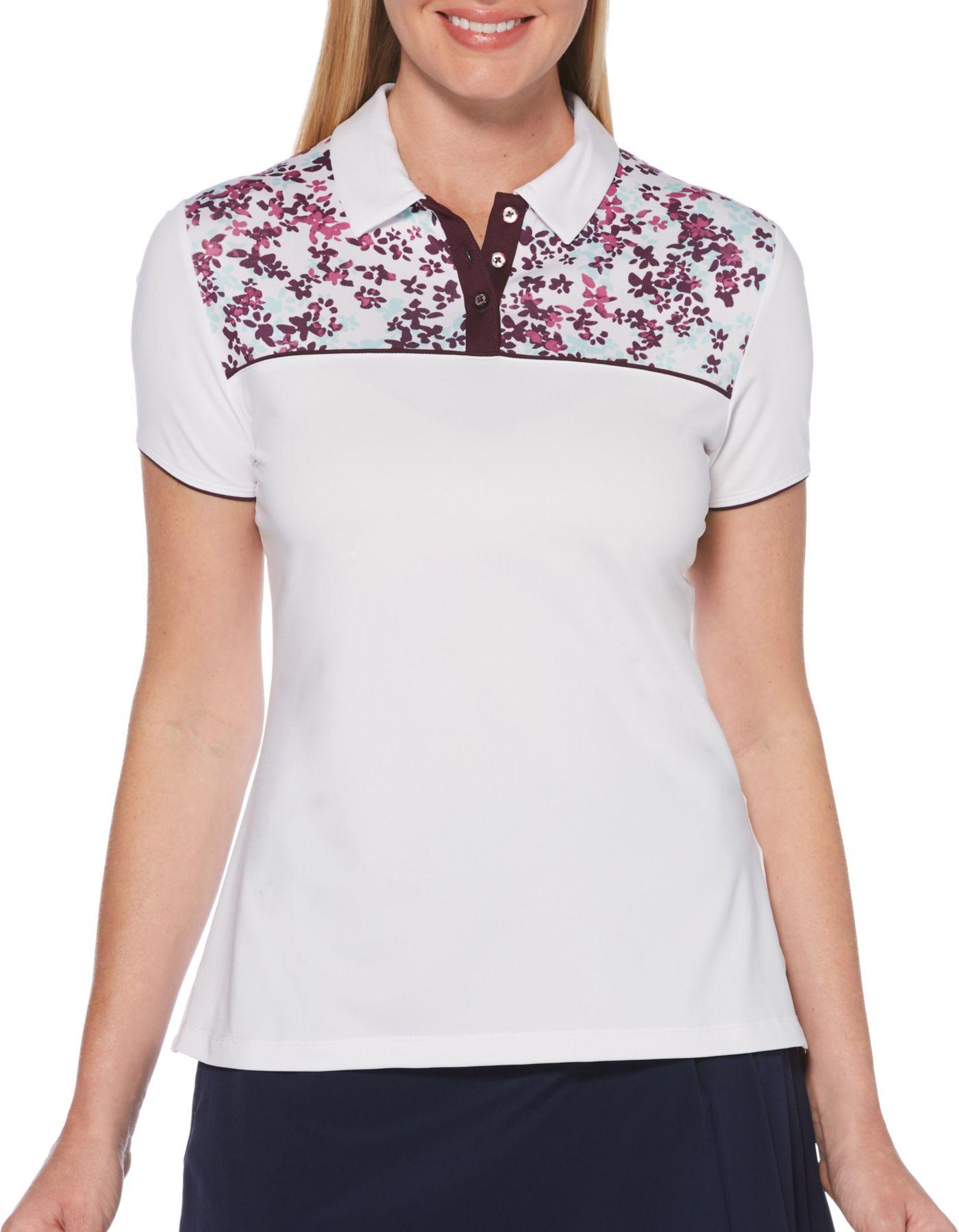 Callaway Women's Confetti Floral Print Short Sleeve Golf Polo