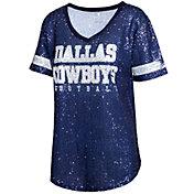 Dallas Cowboys Merchandising Women's Allover Sequin Navy V-Neck T-Shirt