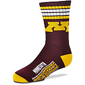 For Bare Feet Youth Minnesota Golden Gophers 4-Stripe Deuce Crew Socks