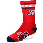 For Bare Feet Youth Arizona Wildcats 4-Stripe Deuce Crew Socks