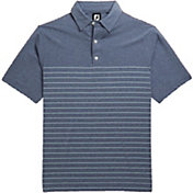 FootJoy Men's Heather Lisle Engineered Pinstripe Short Sleeve Golf Polo