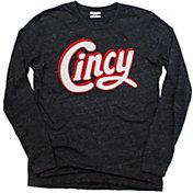 Where I'm From Men's Cincy Black Heathered Tri-Blend Long Sleeve Shirt