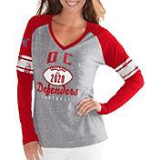 G-III For Her Women's XFL DC Defenders Sleeve Stripe Grey Long Sleeve Shirt