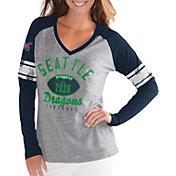 G-III For Her Women's XFL Seattle Dragons Sleeve Stripe Grey Long Sleeve Shirt