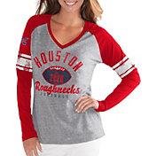 G-III For Her Women's XFL Houston Roughnecks Sleeve Stripe Grey Long Sleeve Shirt