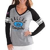 G-III For Her Women's XFL Dallas Renegades Sleeve Stripe Grey Long Sleeve Shirt