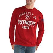 G-III Men's XFL DC Defenders 'Property Of' Long Sleeve Red T-Shirt