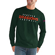 G-III Men's XFL Seattle Dragons Halftime Long Sleeve Green Shirt
