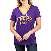 G-III For Her Women's LSU Tigers Lace Up V-Neck T-Shirt