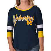 G-III For Her Women's Michigan Wolverines Blue Prospect ¾ Sleeve T-Shirt