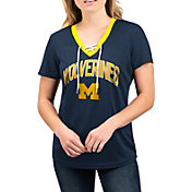 G-III For Her Women's Michigan Wolverines Lace Up V-Neck T-Shirt