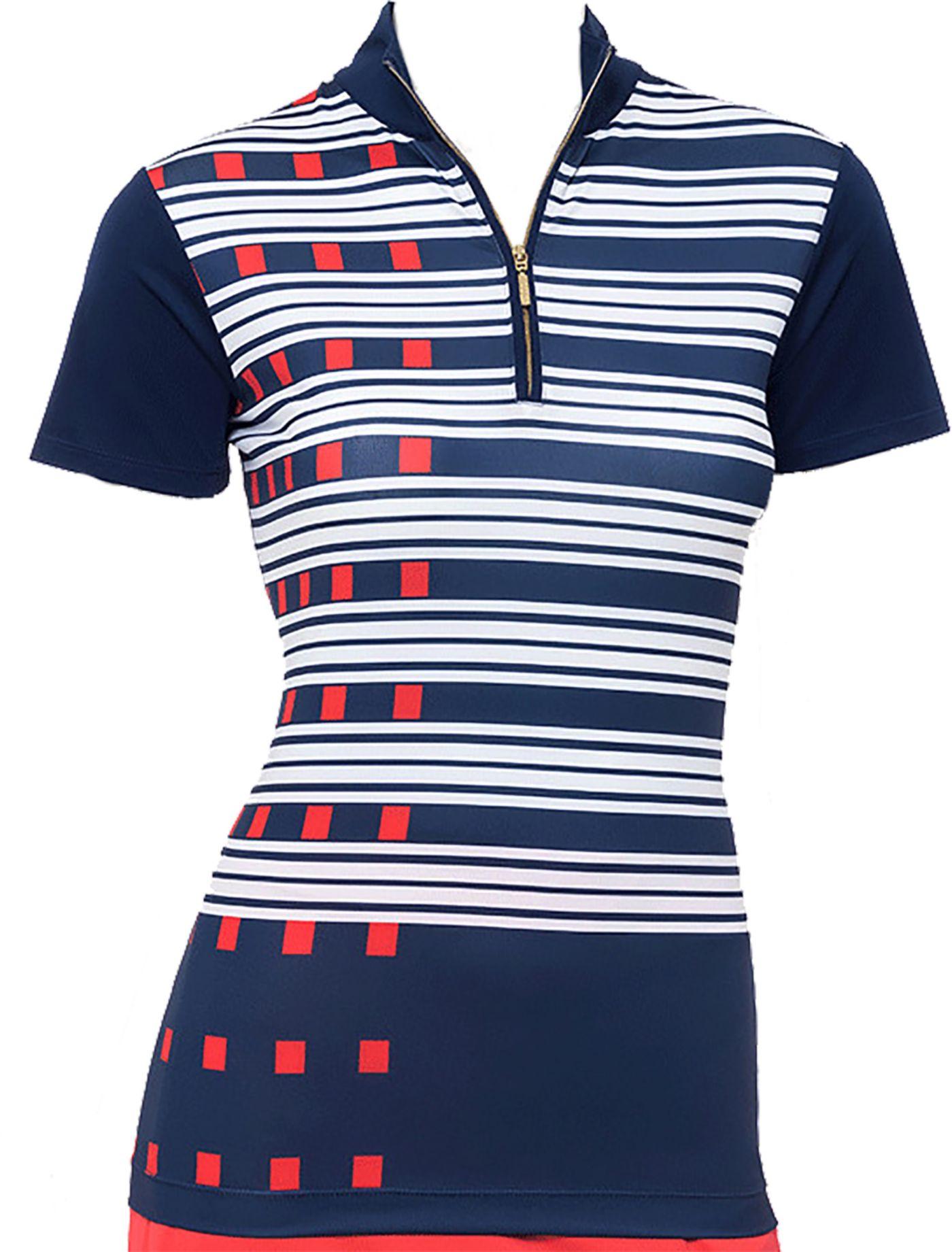 EP Pro Women's Exploded Dash Stripe Short Sleeve Golf Polo