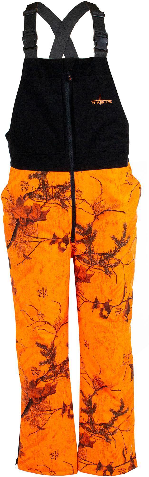 Habit Men's Cedar Branch Insulated Waterproof Hunting Bib, Medium, Blaze Orange/black