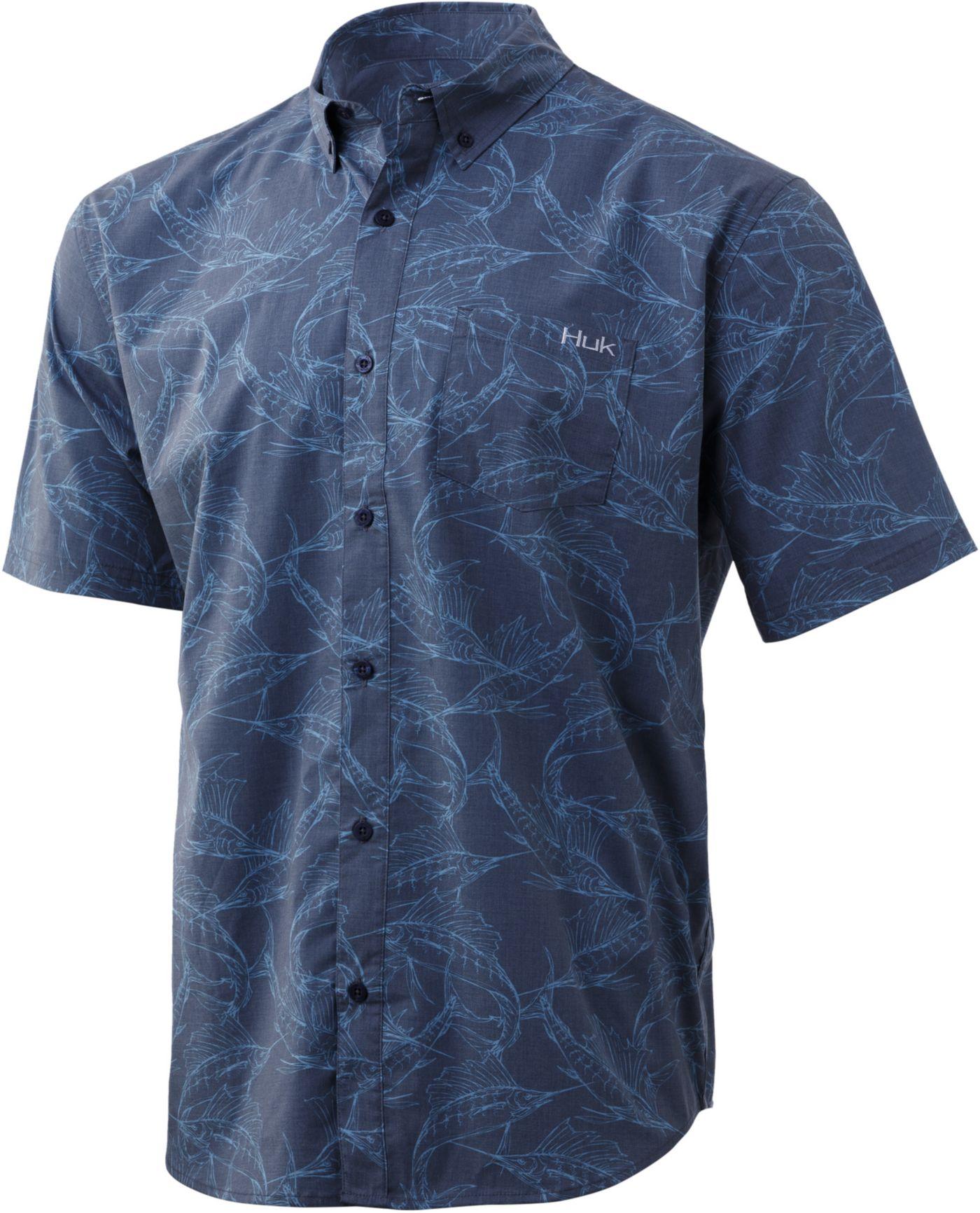 Huk Men's Kona Woven Short Sleeve Button Down Shirt